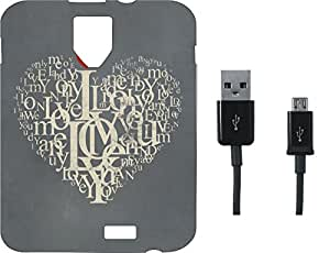 BKDT Marketing Printed Soft Back Cover Combo for Karbonn Titanium Moghul With Charging Cable