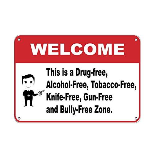 Señal de Metal con Texto en inglés Welcome To Drog, para decoración de Vallas, Valla de jardín, para el Tabaco, Cuchillo, Zona Libre de Pistolas, de Aluminio