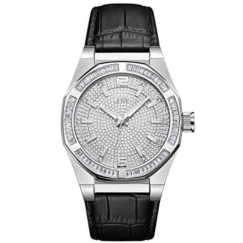 Jbw orologio da uomo con cristalli Swarovski argento diamante nero