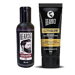 BEARDO Beard and Hair Growth Oil 50ml and BEARDO Ultraglow Face Lotion For Men - 100g combo.