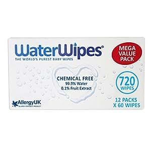 WaterWipes Sensitive Baby Wipes, 12 Packs x 60 Wipes (720 Wipes)
