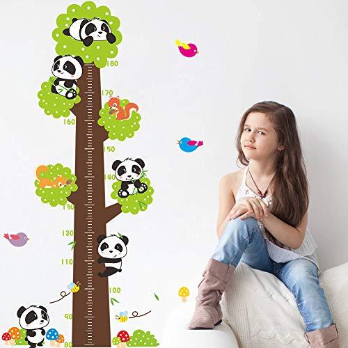 VERYWAN Wandaufkleber Neue nette cartoon baum wandaufkleber kinder höhenmessung aufkleber diy schöne panda vögel tiere kinder poster wohnkultur (C Artoon)