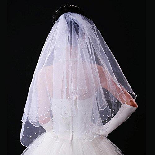 WINOMO 80CM Hochzeit Bridal Veil Mantilla mit Kamm lange Double-Layer-Perlen Perlen Weiß