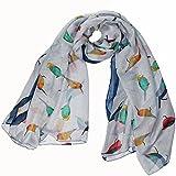 luxury large maxi scarf finch birds grey