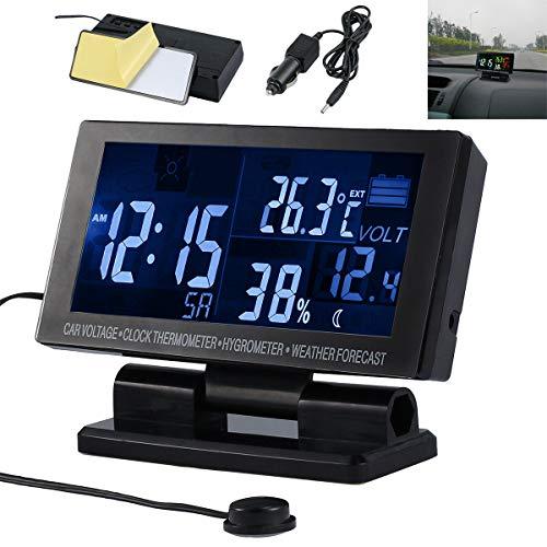 SH-RuiDu Direct Store 5-in-1 Auto Thermometer Hygrometer, LCD Digital Wettervorhersage Voltmeter Alarm für Auto