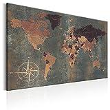 decomonkey Bilder Weltkarte 90x60 cm 1 Teilig Leinwandbilder Bild auf Leinwand Wandbild Kunstdruck Wanddeko Wand Wohnzimmer Wanddekoration Deko bunt Welt Karte Landkarte Kontinente