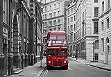 Papier Peint Photo Mural INTISSÉ (290V) LONDON Bus Stop 350 x 260 cm in 7 parties 50 cm x 260 cm impression numérique photoréaliste de haute qualité pâte de papier peint inclus