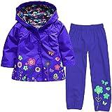 Timlung Giacca impermeabile con cappuccio Outwear Impermeabile cappotto + Pantaloni delle bambine e ragazze, Blu scuro, 2-3 ans(Taglia 100)