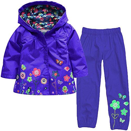 Timlung Kinder Mädchen 2tlg Bekleidungsset Regenjacke mit Kapuze + Regenhose, Dunkelblau, Gr.98(Herstellgröße: 100CM)