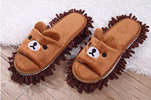 Ciniglia Scarpe Pantofola immagine Orso Caffè, pantofole con staccabile lavapavimenti Attrezzi per la pulizia utilizzate su pavimenti in legno, linoleum e piastrelle. 9 7/9