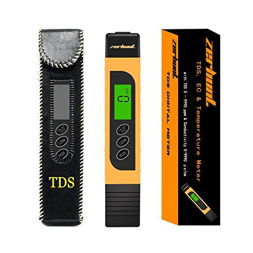 TDS und EC Messgerät, Zerhunt Digital Wasserqualitätstester ppm Tester Meter Wassertest Leitwertmessgerät für das Aquarium und Trinkwasser