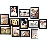Homemaxs 12er Bilderrahmen Set 13x18, Collage Bilderrahmen Moderner MDF-Rahmen mit Acrylglas Fotorahmen Umweltfreundlicher Familienfotorahmen, Wandgalerie-Set für Wand oder Platte (Schwarz)