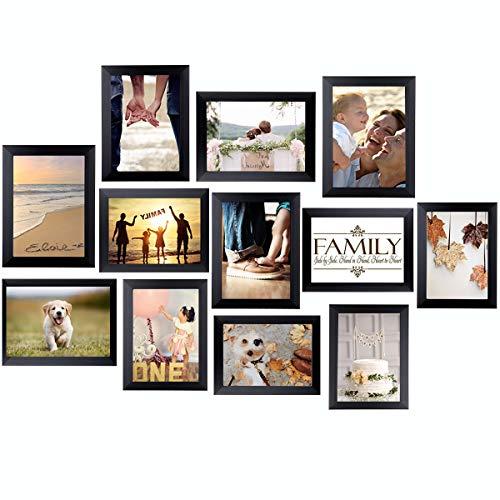 rahmen Set 13x18, Collage Bilderrahmen Moderner MDF-Rahmen mit Acrylglas Fotorahmen Umweltfreundlicher Familienfotorahmen, Wandgalerie-Set für Wand oder Platte (Schwarz) ()
