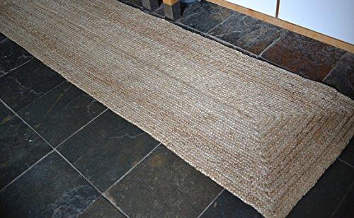 60x 230cm Plain Trenzado Natural rústico Tejido a Mano Alfombra Reversible Fibras Naturales
