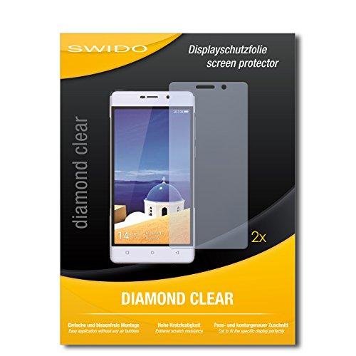 SWIDO 2 x Bildschirmschutzfolie Gionee Marathon M4 Schutzfolie Folie DiamondClear unsichtbar
