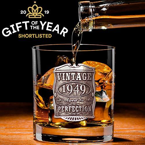 English Pewter Company VIN001 Vaso de cristal para whisky de 70 cumpleaños o aniversario, diseño vintage de años 1949