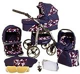 Ferriley & Fitz Daytona Kinderwagen Safety-Set (Autositz & ISOFIX Basis, Regenschutz, Moskitonetz, Getränkehalter, Schwenkräder) 75 Marine Zoo