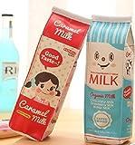 #9: Home Buy Creative Milk Cartons Pencil Case Waterproof PU Pen Bag,(Set of 2,Two Bags)