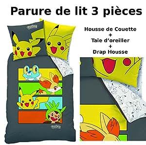 Parure de lit (3pcs) - Housse de Couette + Taie d'Oreiller + Drap housse - Imprimé Pokemon Team Dark