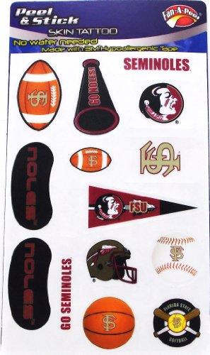 NCAA Florida State Seminolen Fußball Basketball Baseball Set 14Stück sortiert Abziehen & Aufkleben Haut Tattoos (Baseball-haut)