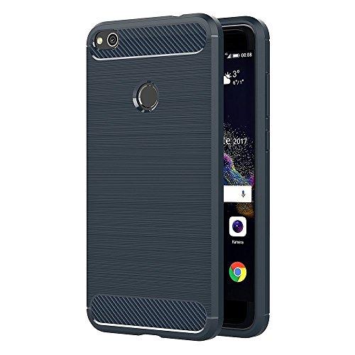 ivoler Kompatibel für Huawei P8 Lite 2017 Hülle, Carbon Faser Case Tasche Schutzhülle mit Stoßdämpfung Soft Flex TPU Silikon Handyhülle - Blau -