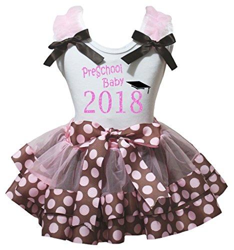 Kostüm Vorschul - Petitebelle Vorschul Baby-2018 weißes Hemd Brown Pink Dots Petal Rock Nb-8J 6-8 Jahre Hell-Pink
