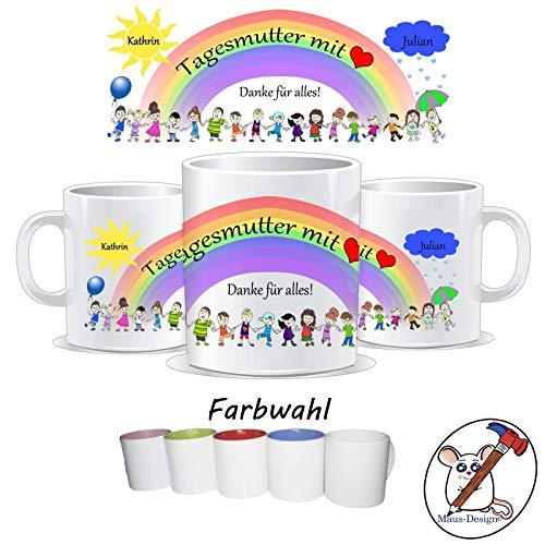 Tasse für die Tagesmutter mit Herz/Danke für alles/Personalisierbar mit dem Namen des Kindes und der Tagesmutter/GESCHENKIDEE TAGESMUTTER/Abschiedsgeschenk