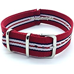 AccessoriesBySej ® TM - G10 NATO MOD NYLON WATCH STRAP - 35 Different Styles & Sizes - (20MM RED/BLUE/WHITE 7S) - Presented with a FREE Luxurious AccessoriesBySej ® TM Velvet Gift Pouch/Bag