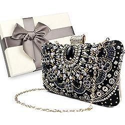 Bolso de noche/embrague para mujer, bolso/bolso de fiesta de boda hecho a mano vintage, bolso de fiesta, embalado en caja de regalo (con cuentas negras)