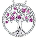 "GinoMay""The Tree of Life"" Necklace October Birthstone Created Pink Tourmaline Sterling Silver Jewellery Birthday Gift for Her,Elegant Gift Box,Allergen-free,45+5cm Extender"
