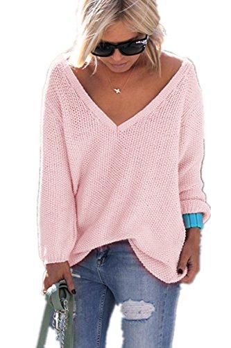 YACOPO Damen Herbst und Winter arbeiten lose mit langen Ärmeln V-Ausschnitt-PulloverSexy Pullover mit V-Ausschnitt Pulli tollen Farben - 12 Farben und 4 Größen (Anzug Rock Damen Neue)