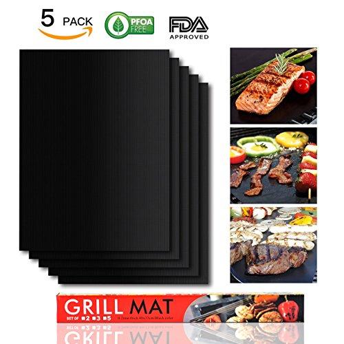 BBQ Grill Mat - LoveisCool Confezione di 5 tappetini antiaderenti riutilizzabili più e più volte-Tappetini per Cottura in Teflon per il Grill- Perfetto per la Cottura a Gas, Carbone, Forno e Griglie E