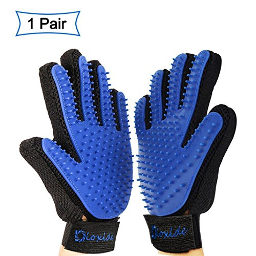 1 Pair Mittens Mitt Massage for Pets, XiDe True Touch Deshedding Brush and Massage Apparatus, Massage Glove for Pets CATS