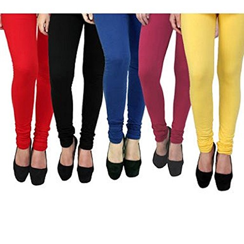 Krystle Women|Girls Cotton Multi Colored Legging Pack Of 5 ( Red/Black/Navy/Yellow/Maroon)