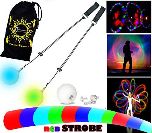 Preisvergleich Produktbild Pro Glow Poi - LED Poi Set + Stoff Reisetasche! Nachtleuchtender Poi inkl. Batterien. Langsam STROBE Leuchtpoi Luminous Pois Led.
