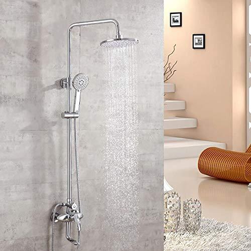 Duschset 3-Funktions Kupfer, 8-Zoll-Rundkopfbrause + Handbrause heißem und kaltem Wasserhahn