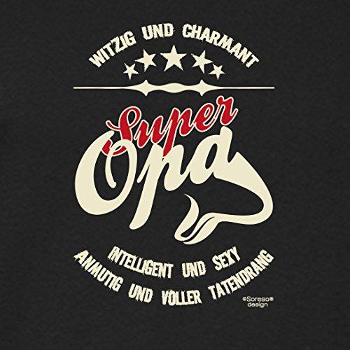 bequemes T-Shirt Herren Männer Motiv Super Opa Geschenk-Idee, Vatertag, Weihnachten kurzarm Outfit, Kostüm Farbe: schwarz Schwarz