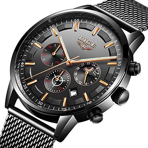 68b49d466582 LIGE Relojes Hombre Moda Impermeable Cuarzo Analógico Reloj para Hombre  Negocio de Lujo Vestido con Acero