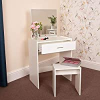 Wido Dressing Table With Stool White Mirror Vanity Makeup Beauty Salon Desk Bedroom