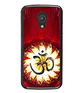 Fuson Premium 2D Back Case Cover Designed 'OM' With Brown Background Degined For Motorola Moto G2 X1068::Motorola Moto G (2nd Gen)