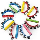 Da.Wa 1Pcs Juguetes Educativos de Madera para Niños Color Sonajero Campana de Mano Campana Semicircular Color Aleatorio