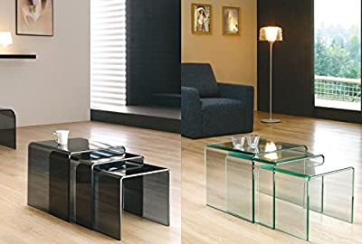 Milan Bent Glass Nest of Coffee Tables Available in Clear or Smoked Glass (42 x 42 x 42 cm) - low-cost UK light shop.