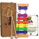 aGreatLife® Xylophon Kinder Holz ab 1 Jahr mit Notenbuch gestimmt - Musikinstrumente Kinder - Musikspielzeug mit farbigen Klangpaletten - Xylophon Baby Schlaginstrument