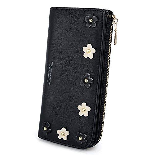 Uto portafoglio donna primavera borsa in pelle sintetica portamonete a cerniera per cellulare portafoglio ragazza con 3d fiore nero