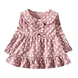 LEXUPE Kleidung Kleinkind Baby Scherzt MäDchen Lange HüLse Geraffte Punkt Doppelte Bogen Gekleidete Kleidung