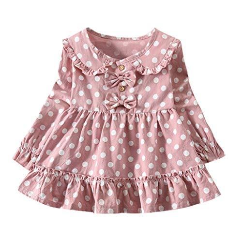 KIMODO Kleinkind Baby Mädchen Kleid Einfarbig Gerüscht Blumen Kleider Bogen Langarm Urlaub Prinzessin Sommerkleid Outfit Kleidung - Bogen Panty