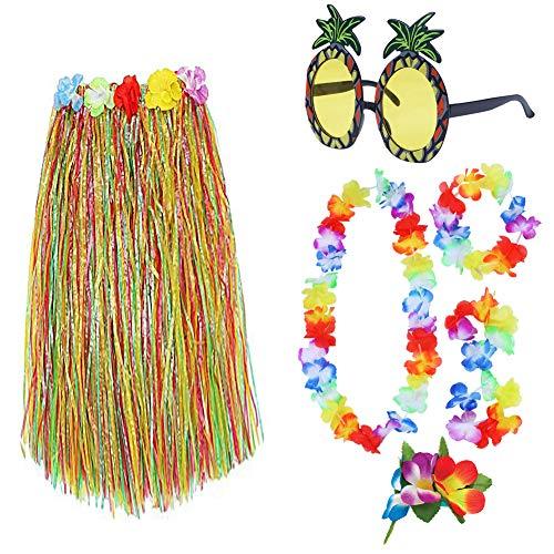 Stirnband Kostüm Ananas - 7 Stück/Set hawaiianischer Hula-Grasrock Ananas-Sonnenbrille Blume Bikini Top Haarclip Halskette Armbänder Stirnband Set für Hawaii Luau Party Dekoration