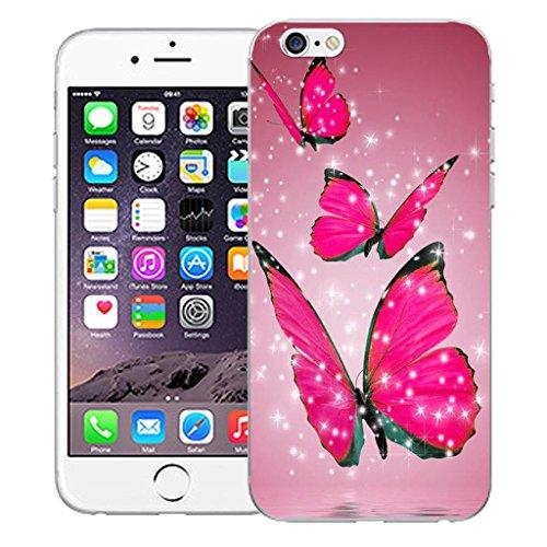 """Nouveau iPhone 6 4.7"""" inch clip on Dur Coque couverture case cover Pare-chocs - vert dragon Motif avec Stylet floating butterflies"""