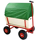 Helo Bollerwagen Handwagen 150 kg Tragkraft mit Dach (Grün) und Luftreifen, Stahlrohrkonstruktion mit verstärkter Ablagefläche - (L/B/H): 94 x 62 x 50 cm - Gestell: Rot/Plane: Grün