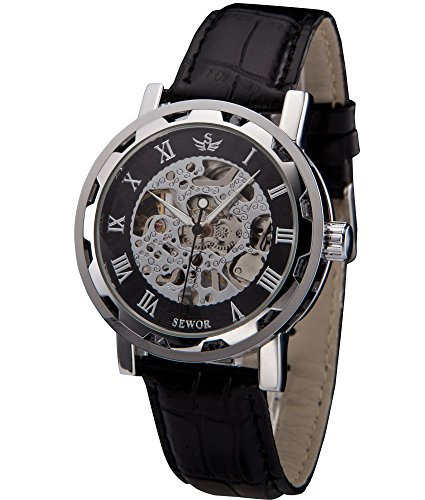SEWOR Mens Hollow Skeleton Carving Mechanical Hand Wind Wrist Watch (Silver Black)